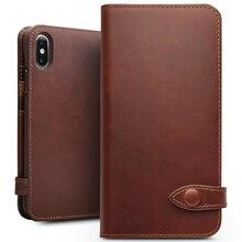 Naturalna skóra qialino etui na telefony dla iPhone X ręcznie robione luksusowe Ultra Slim portfel Slot kart przycisk torba etui z klapką pokrywa dla iPhone X