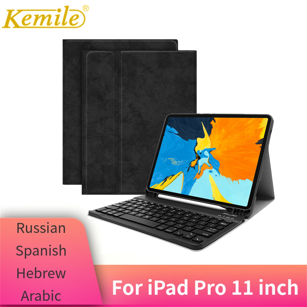 For iPad Pro 11 Case Keyboard W Pencil holder PU Leather Protective Cover For iPad Pro 11 2018 Keypad Russian Spanish KeyboardFor iPad Pro 11 Case Keyboard W Pencil holder PU Leather Protective Cover For iPad Pro 11 2018 Keypad Russian Spanish Keyboard