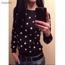 2018 Fashion New European Star printing Sweatshirt Hoodies Long Sleeve  loose women Crewneck size S-XL Hot sale 2016 Laipelar