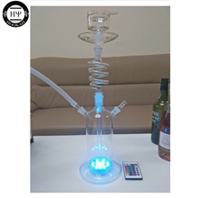 Promo new twirl glass shisha hookah rotating glass hookah spiral hookah glass with water proof led and remote control EPE safe pack