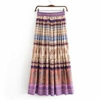 Boho Pleated Gypsy Striped Skirt Women Hippie Floral Print High Waist Maxi Skirts 2018 Autumn Summer Ladies Vintage Long Skirt