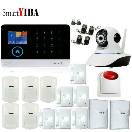 все цены на SmartYIBA Wireless GSM SMS Alarm Security System PIR Motion Sensor Wired Siren Kit Home Burglar Security Alarm System+IP Camera