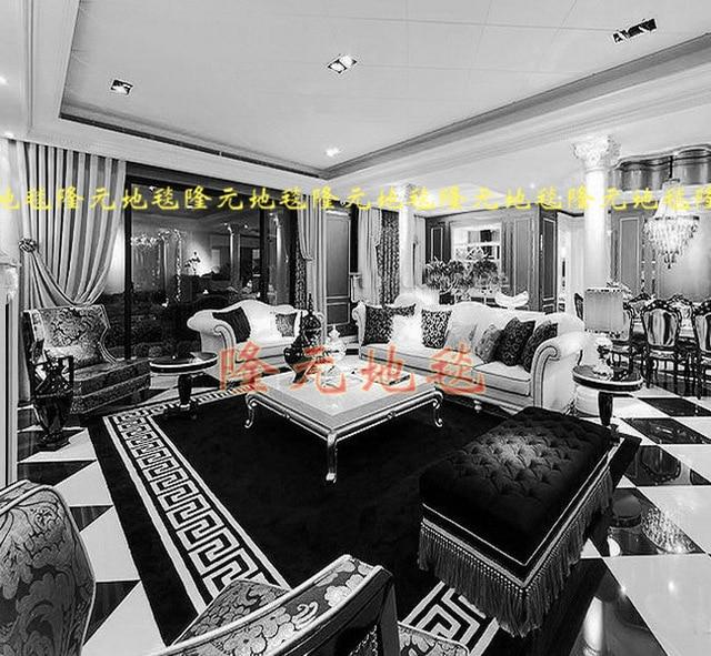 Luxus Mode Schwarzen Und Weißen Streifen Teppiche Schlafzimmer