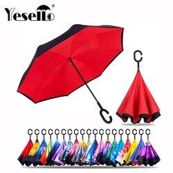 Drop Shipping wiatroodporny odwrócony składany dwuwarstwowy odwrócony parasol Chuva samodzielnie stojące ochrona przed deszczem c hook ręce do samochodu w Parasole od Dom i ogród na
