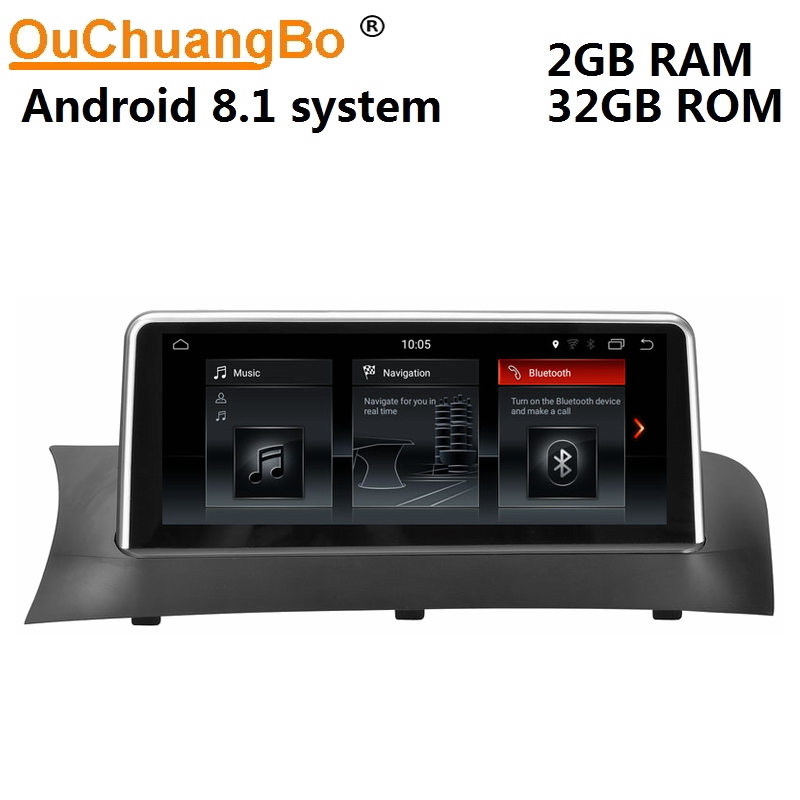 Ouchuangbo car audio stereo gps navi head units for X3 F25 2011-2014 android 8.1 OS 6 core BT aux dual zone USB 2+32