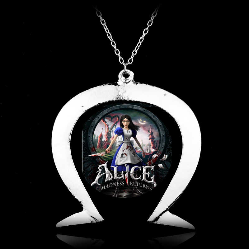 PS3 Xbox PC Games Jewelry Alice the Madness Returns Inspired Horseshoe Necklace Woman Man Cosplay Necklaces with Pendants