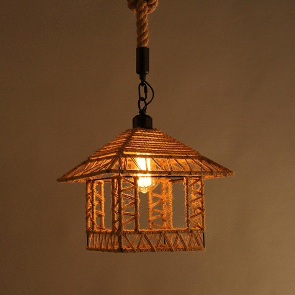 Hanging wicker bed - Hemp Rope Lamp Ceiling Plate Loft Shape Pendant Light Restaurant Study Room Personalized Diy Handmade
