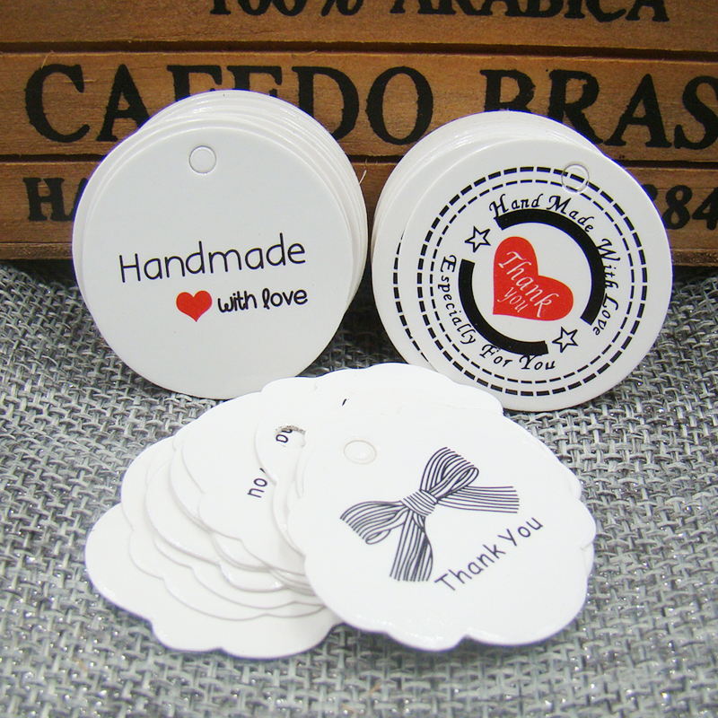 200 шт./лот Белый ручной работы с любовью бумажная бирка спасибо подарок тег label для свадьбы/конфеты/Детские подарки продукты tagging Tag