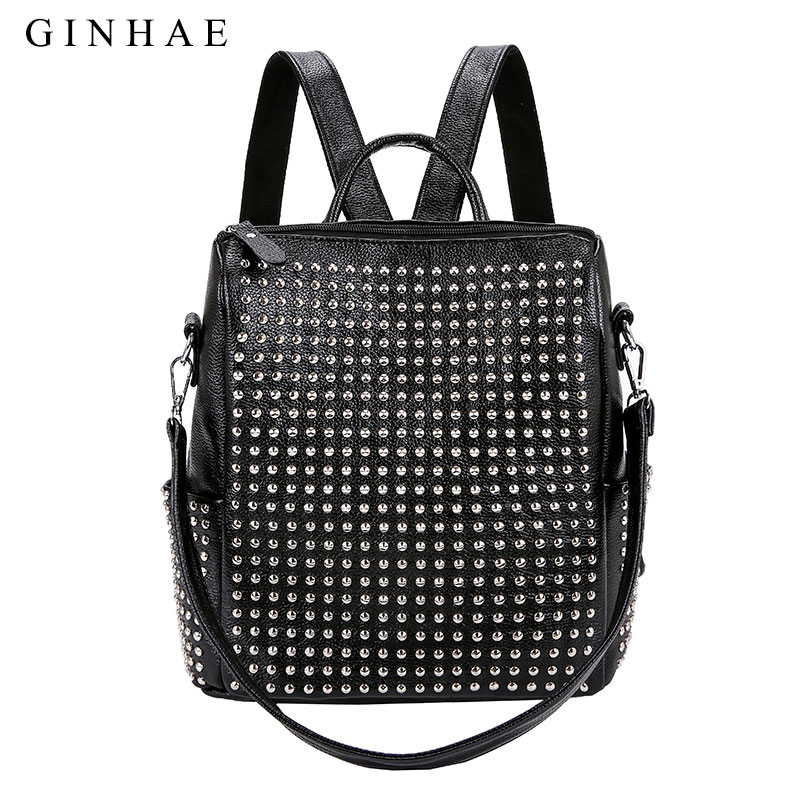 GINHAE Fashion Rivet Design Women Bag Small Backpacks Ladies Soft PU Leather Backpack Teenage Girls Casual Shoulder School Bags