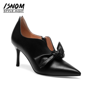 ISNOM 2018 Occident Thin High Heels Women Pumps Pointed Toe Female Shoes Butterfly Knot Autumn Footwear Cow Leather Ladies Shoes