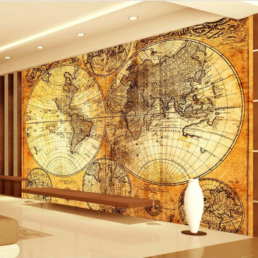 Custom wall mural wallpaper world map red wine oak for Custom mural wallpaper