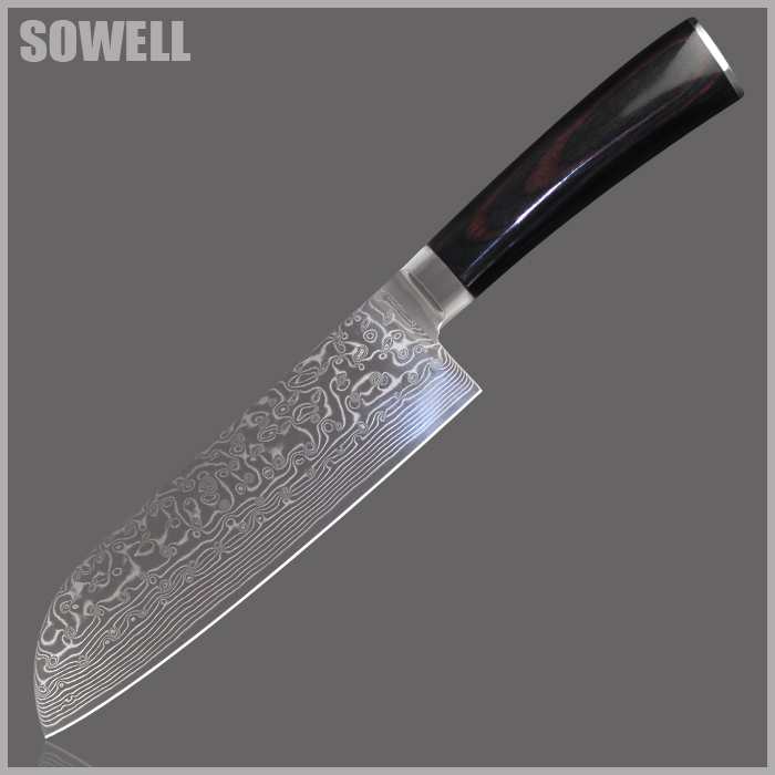 XYJ brand damascus knives 7 inch chef santoku knife VG10 Damascus steel best gift kitchen knife