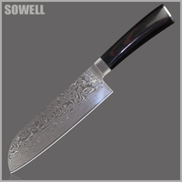 SOWELL VG10 Damascus Knives 7 Inch Chef Santoku Knife Japanese Damascus Steel Kitchen Knives With Color
