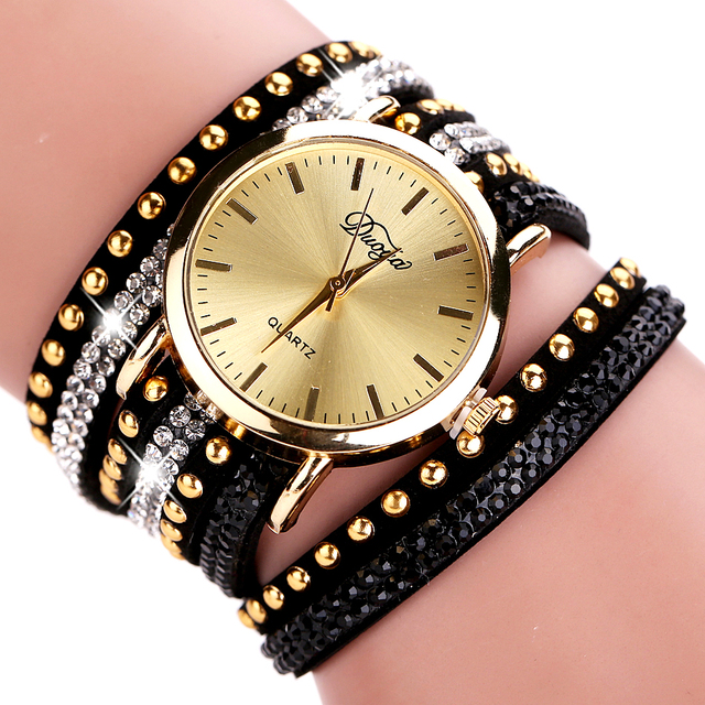 Duoya Brand Watches Women Gold Geneva Luxury Crystal Gemstone Wristwatches Fashion Casual Women Bracelet Quartz Vintage Watch