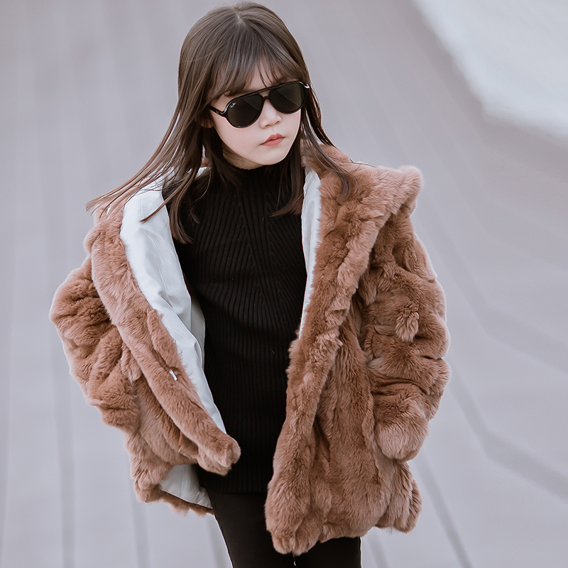 JKP 2018 new Real Rex Rabbit Fur Warm Clothing winter fashion Coat Girl Fur real Rabbit Fur outerwear Girl Children's Jacket fashion kids girl rabbit fur coat winter children natural rabbit fur outerwear jacket warm child thickening clothing