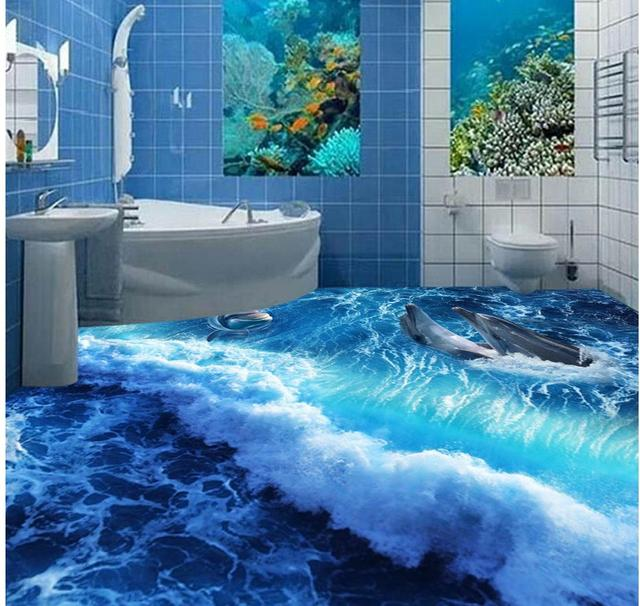 Us 500 3d Floor Painting Wallpaper Dolphin Wave 3d Bathroom Living Room Floor Pvc Floor Wallpaper 3d Flooring W 3d Floor Painting Wallpaper Dolphin