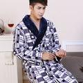 El aumento de engrosamiento de nuevo otoño y el invierno camisón de franela de los hombres de manga larga chándal pijamas