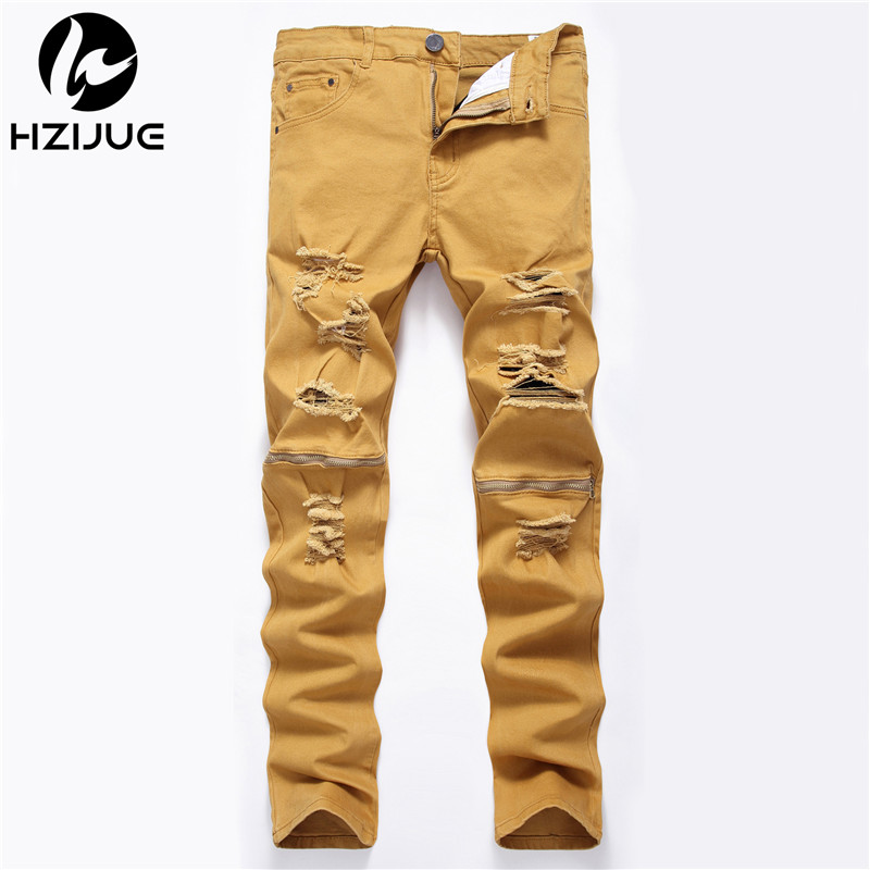 HZIJUE New 4 colors Ripped Jeans Men With Holes zipper Skinny Famous Designer Brand Slim Fit Destroyed Torn Jean Pants For Male