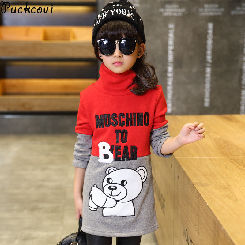 Girls tshirt Winter t-shirt girls Fleece inner t shirt Warmed Cartoon embroidery Kids long tops Turtle neck top long sleeve women s long sleeve jewel neck solid color t shirt