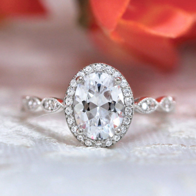 3.24 CTW Oval Cut Simulated Diamond 14K with Gold Wedding Engagement Ring