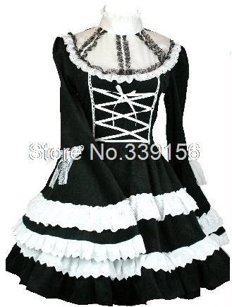 Black And White Lolita Lace Sleeve Knee-Length Gothic Lolita Novelty Ball Gown Dress
