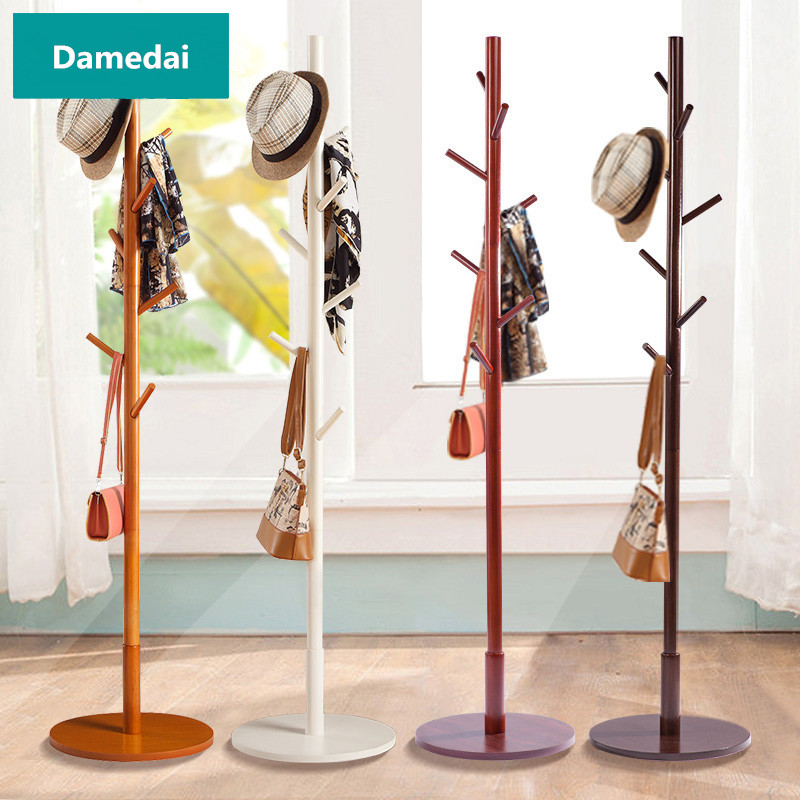 Free Standing 7-Hooks Wood Coat Rack Hall Tree Hat Purse Jacket Coat Rack Stand W/Round Base Wooden Standing Coat Rack Hanger inness sturdy coat rack solid rubber wood hall tree with tripod base suitable for aduit bule