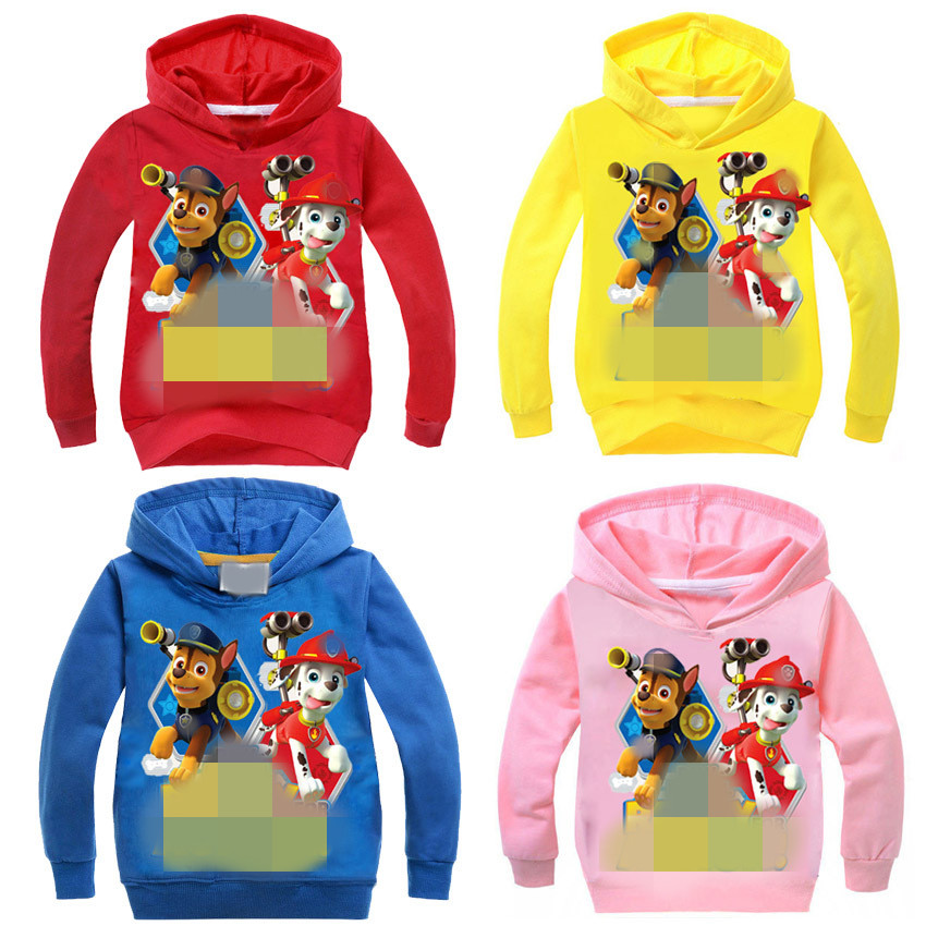 Boys girls Spring Autumn dog cartoon hooded sweater long-sleeved T-shirt Children's boy girl Sweatshirts coat 2-10t 7245 TZ03