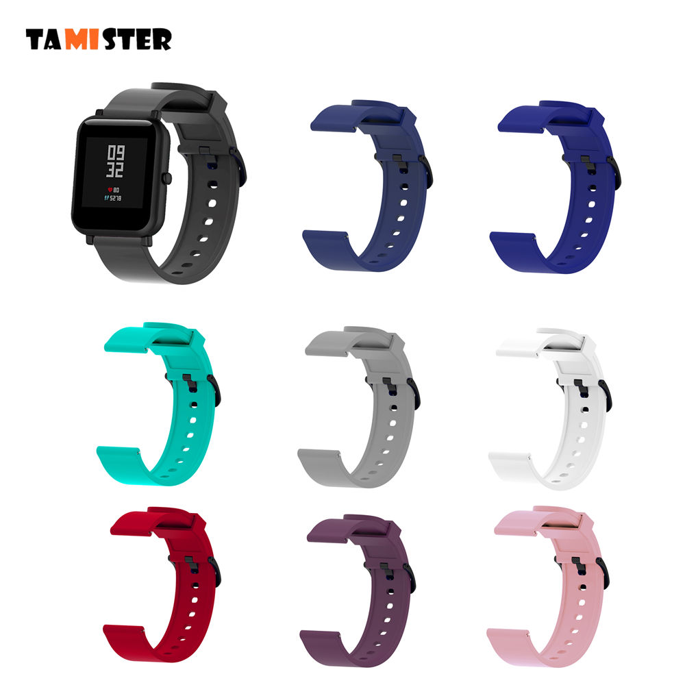 TAMISTER Pure Colorful Silicone Wrist Strap For XiaoMi Huami Amazfit Bip BIT PACE Lite Youth Smart Watch Replacement Band 20mm