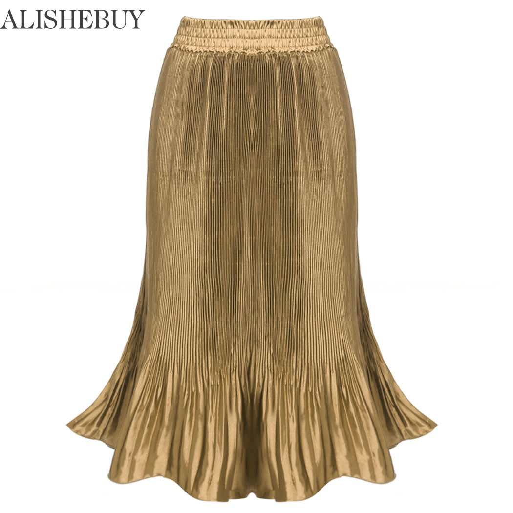 New Women Casual Pleated Solid Mid Length Skirt Tulle Skirts Women Saia Sereia Long Pleated Skirts Mermaid Skirt