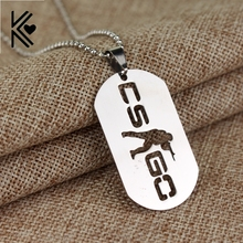 2017 New Stainless Steel Cs Go Necklace Counter Strike Name Tag Pendant Neckless CSGO Dog Tag Collier Jewelry Game Theme Cs Go