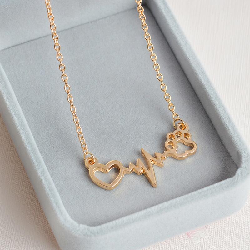 LNRRABC Chic Women Chains Necklaces Alloy Heartbeat Electrocardiogram ECG Dog Cat Paw Print Pendant Necklace Fashion Jewelry