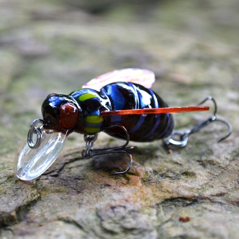 2016 High Quality Freshwater Japan Insects Fishing Lure Carp Bait Wobbler 3D eyes luz Pesca Crankbait Leurre Peche 45mm 6g
