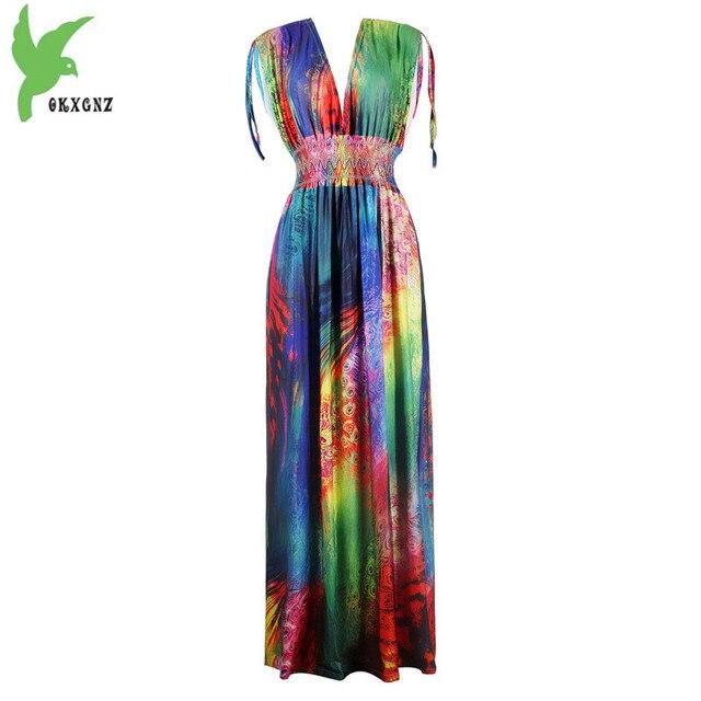 c7d1c16a32 Europejski i Amerykański styl kobiety lata Dekolt mody pawie pióro druku  sukienka bez rękawów wysokiej talii