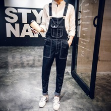 Aberdeen style denim overalls and Korean couples dress jeans men Siamese suspenders feet
