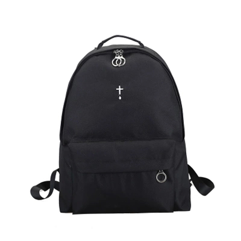 Embroidery double shoulder bag female Korean version of the cross moon backpack the girl's backpack canvas large capacity oxford bag korean version of the female students shoulder bag large capacity backpack canvas backpacks