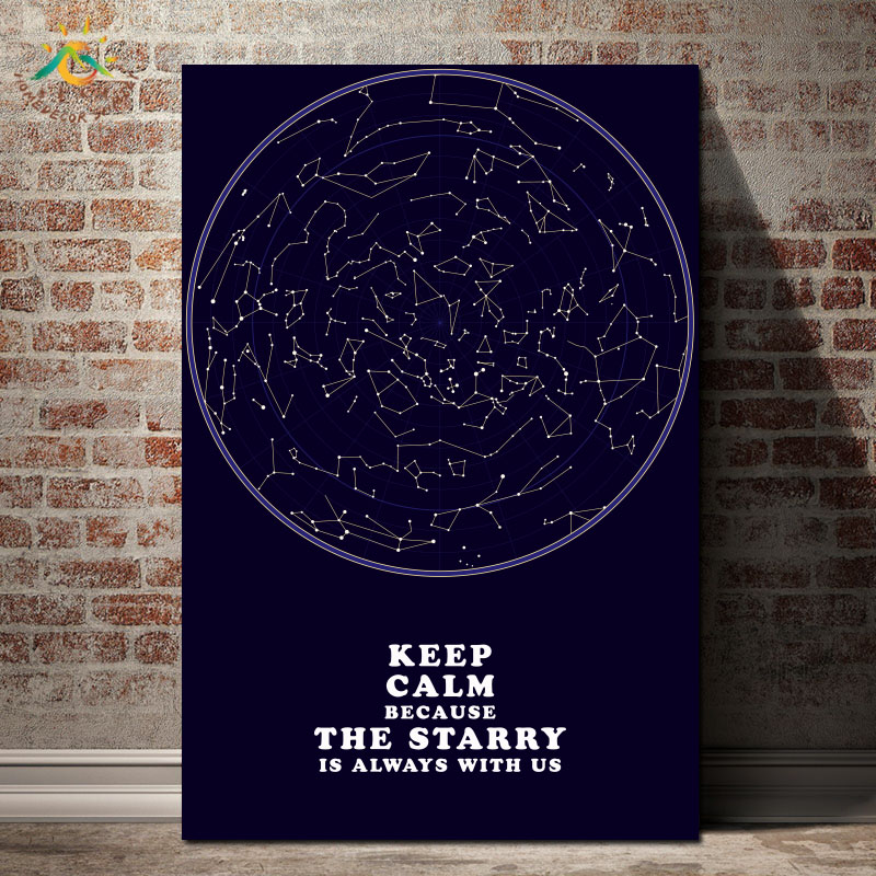 Modern Starry Sky Wall Art Print Pop Posters and Prints Scroll Canvas Painting wall pictures for living room