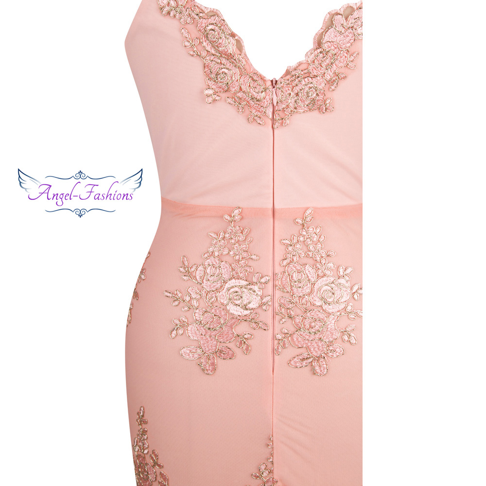 Image 5 - Angel fashions Womens V Neck Embroidery Lace Flower Mermaid Long  Evening Dress Pink 310evening dress pinkevening dresslong evening  dress
