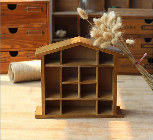 Free Shipping!House Shape Wooden Storage Box Wall Hanger Storage ...