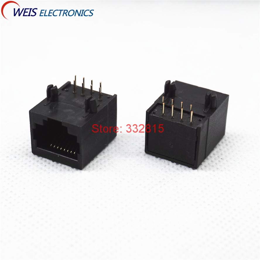 10PCS <font><b>RJ45</b></font> Ethernet socket 18.3 Network <font><b>Jack</b></font> interface 8PIN 15*18mm female connector black plastic 58 Free shipping image