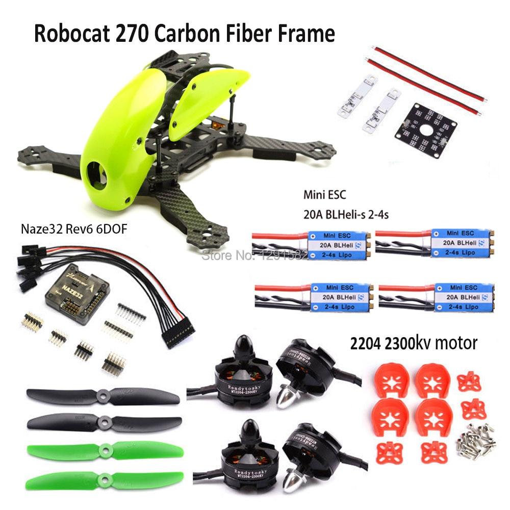 Robocat 270 Kit de cadre Naze32 Rev6 6DOF contrôleur MT2204 2300kv moteur 12A simoine/BLHeli ESC 5030 Prop pour quadrirotor