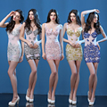 Sexy Sheath Mermaid Sleeveless Champagne Beaded Crystals See Through Short Mini Women Party Short Cocktail Dresses cocktail jurk
