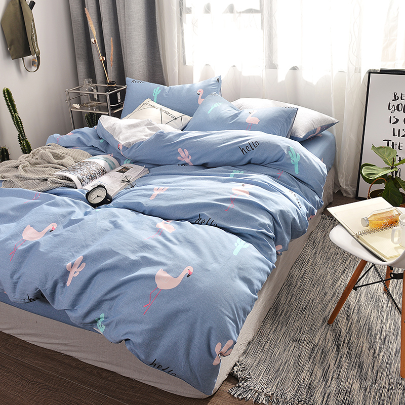 Love birds and cactus print Simple style bedding set cotton fabric 3/4pcs Twin Queen Size duvet cover flat sheet pillowcase Love birds and cactus print Simple style bedding set cotton fabric 3/4pcs Twin Queen Size duvet cover flat sheet pillowcase