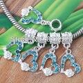 wholesale 30Pcs Bulk Lake blue Crystal Heart Love Flower European Beads Dangle Charm Fit Bracelet