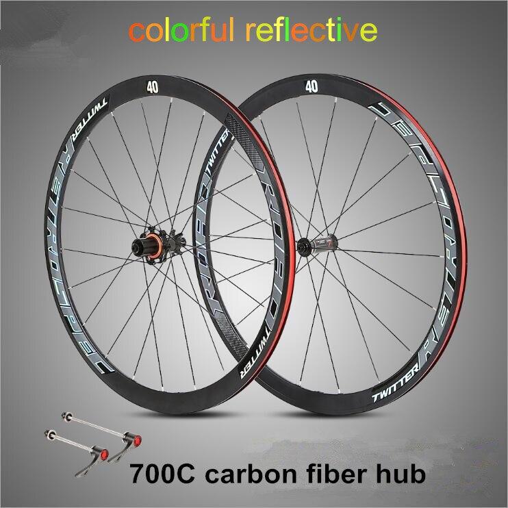 Ultra-leggero in fibra di carbonio hub 700C ruota della bici della strada 40 centimetri wheelset 4 cuscinetto sigillato cerchi in lega colorati riflettenti ruote
