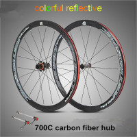 ultra light carbon fiber hub 700C road bike wheel 40cm wheelset 4 sealed bearing alloy rims colorful reflective wheels