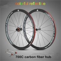 ultra light carbon fiber hub 700C road bike wheel 40cm wheelset 4 sealed bearing alloy rims colorful reflective wheels