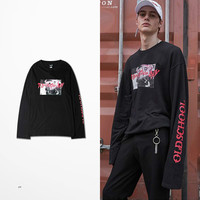 Ulzzang Korea Style High Street Brand Kanye Coconut Long Sleeve T Shirt Sleeve Letters Print Couple