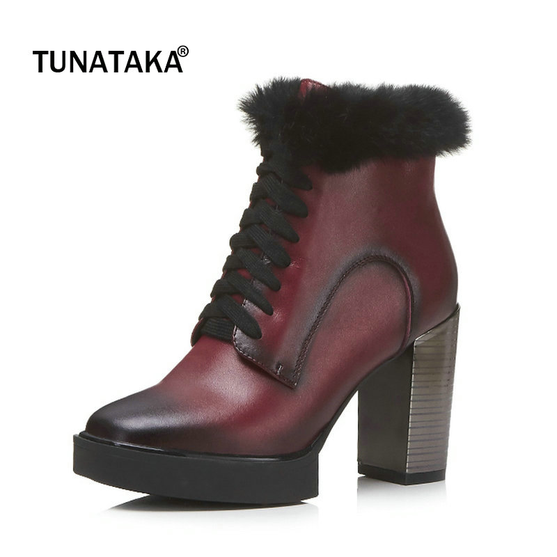 Genuine Leather Platform Square High Heel Woman Ankle Boots Fashion Lace Up Dress Shoes Winter Woman Black Wine Red стоимость