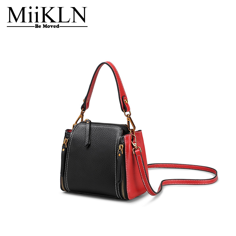 MiiKLN Panelled Red Black Blue Genuine Leather Flap Bags For Women Small Hanbag Bag Shoulder Crossbody Ladies Fashion Bags цена