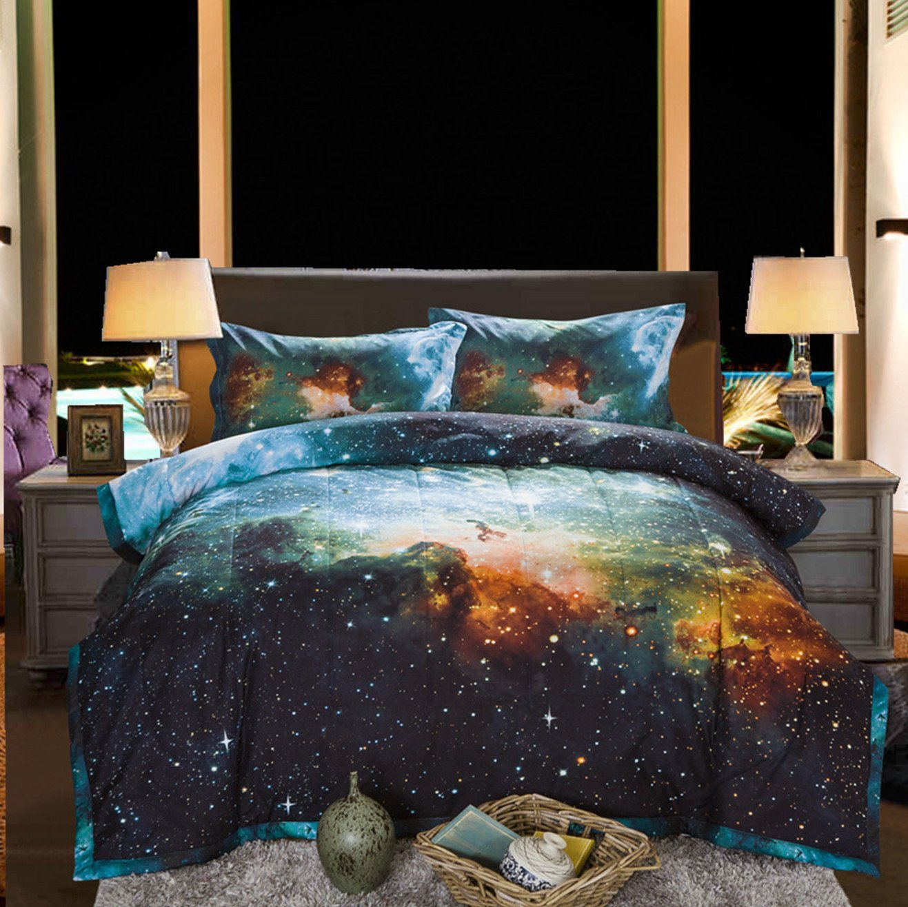 WARM TOUR 4PCS Galaxy Bedding Sets 3D Printed Cloud Quilt Comforter Sets With 2 Bedroom Pillow Covers